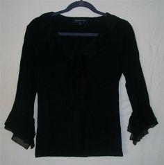 JONES NEW YORK SIGNATURE Black Ruffle Top SM HOL99 #JonesNewYork #KnitTop #Career