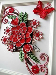 Ayani art: Quilling in Red and White Neli Quilling, Quilling Butterfly, Paper Quilling Flowers, Paper Quilling Cards, Paper Quilling Designs, Quilling Paper Craft, Quilling Patterns, Paper Crafts, Quilled Roses
