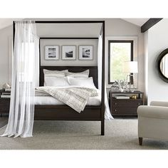 Shop Keane King Canopy Bed. The king bed's rustic brown finish lends decor-friendly warmth. Designed by Bill Eastburn of William Eastburn Design, the Keane King Canopy Bed is a Crate and Barrel exclusive.
