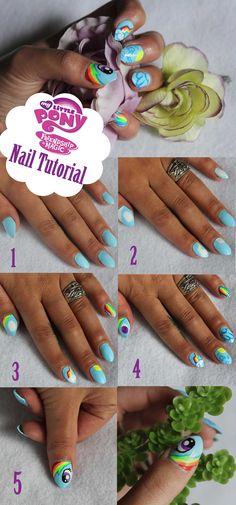 MLP Rainbow Dash nails