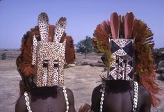 Africa |  Dogan Dyomo masqueraders during the Dama ceremony, Sanga, Mali.  Photo taken by Eliot Elisofon in 1970.