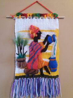 Weaving Art, Tapestry Weaving, Loom Weaving, Hand Weaving, Crochet Basket Tutorial, Arts And Crafts, Diy Crafts, Weaving Techniques, Handmade Flowers