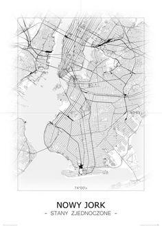 Nowy Jork - Czarno-biała mapa   Sklep ePlakaty.pl