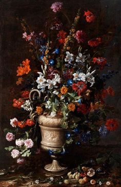 Artwork by Paolo Porpora, Large Still Life with Vase, Fruit, Snake and Lizard, Made of Oil on canvas Still Life Flowers, Dark Flowers, Victorian Flowers, Flower Quotes, Vanitas, Old Master, Old Art, Delft, Flower Vases