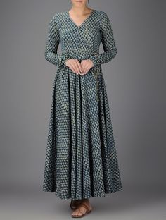 Buy Indigo Ivory Green Ajrakh printed V neck Cotton Angrakha Women Kurtas Living in Khadi and dresses pants palazzos Online at Jaypore.com