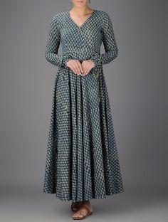 Indigo Ivory Green Ajrakh printed V neck Cotton Angrakha Women Kurta Indian Gowns Dresses, Indian Outfits, Shadi Dresses, Indian Attire, Indian Clothes, Indian Wear, Kurta Designs Women, Blouse Designs, Dress Designs