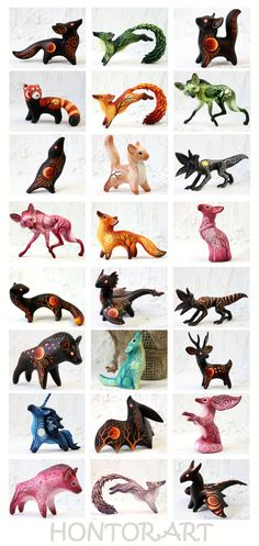 Animal figurines by hontor on DeviantArt Polymer Clay Dragon, Polymer Clay Figures, Polymer Clay Sculptures, Cute Polymer Clay, Polymer Clay Animals, Cute Clay, Sculpture Clay, Clay Art Projects, Polymer Clay Projects