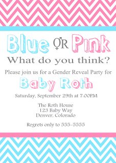Gender Reveal Party Invitation: Blue or Pink