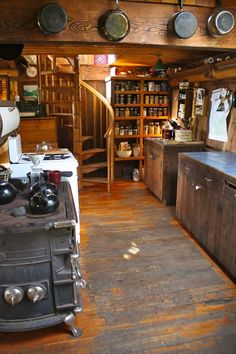 I love this rustic, primitive  kitchen at the campy cabin.