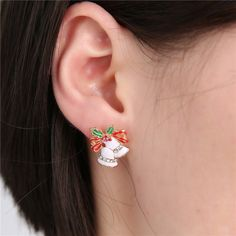 Korea Style Colorful Crystal Earrings 2016 Christmas  Lovely Bells Earring Jewelry For Girl Gift