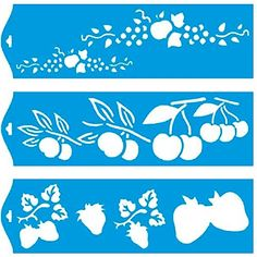 """Set of 3 - 11"""" x 3.3"""" (28cm x 8cm) Reusable Flexible Plastic Stencil for Graphical Design Airbrush Decorating Wall Furniture Fabric Decorations Drawing Drafting Template - Fruits Strawberry Cherry Apple Litoarte"""
