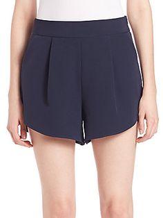 MILLY Italian Cady Petal Shorts - Navy - Size