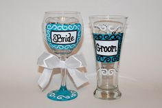 Hand Painted Scroll Wedding Wine Glass or by SunnyBelleDesigns, $18.00