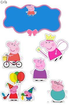 Bolo Da Peppa Pig, Peppa Pig Teddy, Peppa Pig Birthday Cake, Frozen Birthday Theme, Birthday Cake Toppers, Peppa Pig Images, Peppa Pig Printables, Papa Pig, Baby Journal