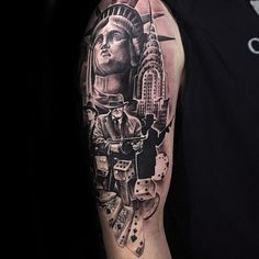 New York City Themed Male Gangster Arm Tattoo Design Inspiration
