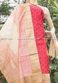 Stunning Fine Maheshwari Silk Unstitched suit