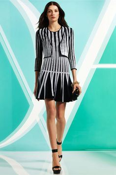 This Diane von Furstenberg uses the same striped pattern layered on itseld, but plays with it by stretching it with the silhouette, and of course, it's styled with the simple black heels