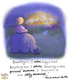 Breathing in, I calm body's mind. Breathing out, I smile. Dwelling in the present moment, I know this is the only moment. | Thich Nhat Hanh | Buddha doodles