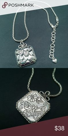 Brighton beautiful retired  raised embossed hearts Reverses to detailed butterfly great condition Brighton Jewelry Necklaces