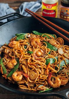 Shrimp Lo Mein (Restaurant Style) | Striped Spatula Seafood Recipes, Dinner Recipes, Cooking Recipes, Recipes With Shrimp, Asian Recipes, Healthy Recipes, Ethnic Recipes, Chinese Noodle Dishes, Chinese Food