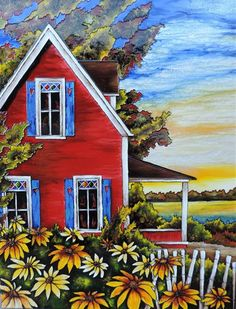 Top Arts Grants is a collection of resources on the grants awarded to Arts Organizations in the United States. Watercolor Landscape Paintings, Farm Art, Easy Watercolor, Naive Art, Online Painting, Pictures To Paint, Beautiful Paintings, House Painting, Painting Inspiration
