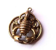SALE Astrological Horoscope Scorpio Scorpion Pendant circa 1970s