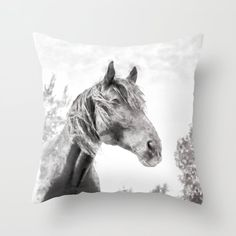 Horse in the Field. Black and White. Throw Pillow by Western Bedrooms, Image Originale, Bed Covers, Original Image, Fields, Watercolor Paintings, Moose Art, Horses, Throw Pillows