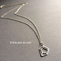 Silver Geometric Necklace Geometric Necklace by Instyleglamour