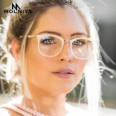 #FASHION #NEW MOLNIYA 2018 Fashion Women Glasses Frame Men Eyeglasses Optical Frame Vintage Super light Round Clear Lens Glasses