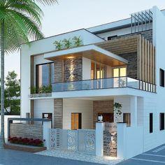 Modern Small House Design, Modern Exterior House Designs, Modern House Facades, Modern Architecture House, Modern House Plans, Building Architecture, Architecture Design, Modern Bungalow Exterior, Simple House Design