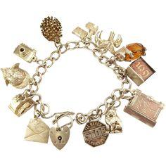 Vintage Silver Charm Bracelet 12 Charms Some Mechanical