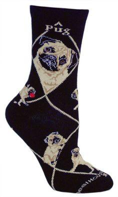 Black Socks, Fawn Pug...I have blue pug socks.