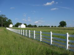 A White Fence travels across a green field, accompanied by an older wooden fence.  www.whitefence.com
