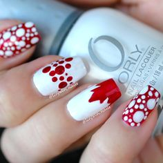 Unique Canada nails, the top of the maple leaf as kind of a French manicure style. Get Nails, Hair And Nails, Nail Polish Designs, Nail Art Designs, Graduation Nails, Gel Nagel Design, Types Of Nails, Nagel Gel, Holiday Nails
