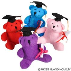 These grads are beary cuddly! Our 4.5-inch Graduation Bears are perfect for graduation parties. These colorful bears come with a graduation cap and diploma. Graduation bears are great for graduation party favors or goody bag items. Come in a variety of colors. #graduation #congrats #backtoschool #ilovemystudents #education #learning #nerdalert