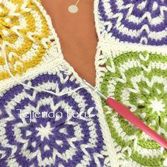 Crochet: uniendo cuadrados o grannies con puntos deslizados!