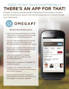 Need to pay your chapter bill? There's an app for that! OmegaFi is excited to provide members and parents the convenience of paying your bill, accessing  your account, and communicating with your members through your mobile phone.