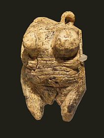 Venus vom Hohlen Fels is an Upper Paleolithic Venus figurine hewn from ivory of a mammoth tusk found in 2008 near Schelklingen, Germany. It is dated to between 35,000 and 40,000 years ago, belonging to the early Aurignacian, at the very beginning of the Upper Paleolithic, which is associated with the earliest presence of Cro-Magnon in Europe.