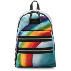 Marc Jacobs Rainbow Printed Biker Backpack (275 AUD) ❤ liked on Polyvore featuring bags, backpacks, handbags, lining bag, day pack backpack, knapsack bag, rainbow backpack and blue bag