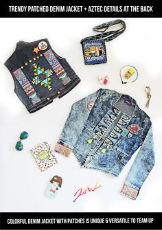 JW is going away from boring plain denim jackets to unique & colorful patched, painted, embellished JW Jackets ;) If you wish to view the front of the top Left Jacket and Back of right bottom Jacket then click here : https://www.facebook.com/justwinker/photos/a.1156328747752779.1073741836.125825320803132/1156328854419435/?type=3&theater