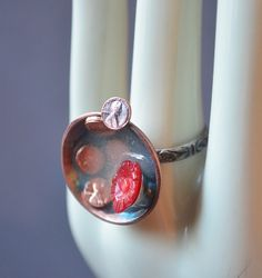 Wishes Lucky Penny Ring Made With Mini Copper Pennies by dolldisasterdesign on Etsy