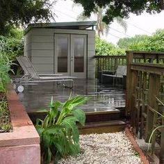 Deck Space: This is a simple shed from the Modern Shed company which makes affordable easy-to-erect sheds that can be used for different functions including office space. Set it up on a large deck and you have an office that's got indoor and outdoor work space. When you're on the computer, you can hang out inside the shed but when you just have to read documents, you can lounge on the deck.