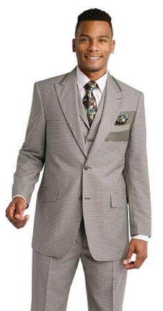 EJ Samuel Olive Mini Check 3 Piece Fashion Suit M2676 (44 R) Graduation