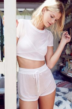 Out From Under High-Waist Ribbed Short - Urban Outfitters