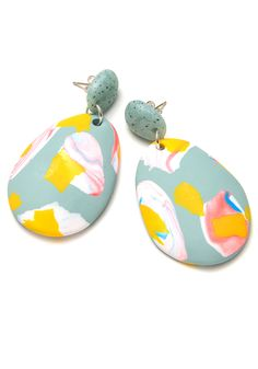 These hand-formed two-part polymer clay drop earrings are part of our Paint and Petals range and feature blue graphite tops and eucalypt green...
