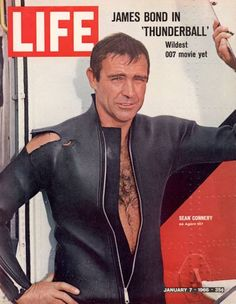 1960s photo of Sean Connery posing for the cover of LIFE magazine in a publicity photo for the James Bond movie Thunderball