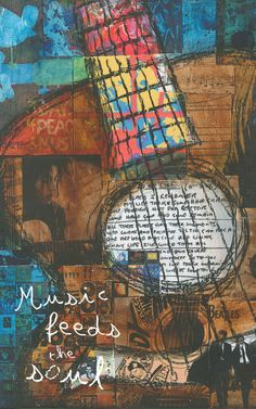 Guitar Art, Music Art, Inspirational Art, Music Feeds the Soul, Mixed Media Art print by Jennifer McCully