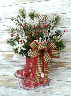 SALE Christmas cowboy boots Red Small boot Arrangement