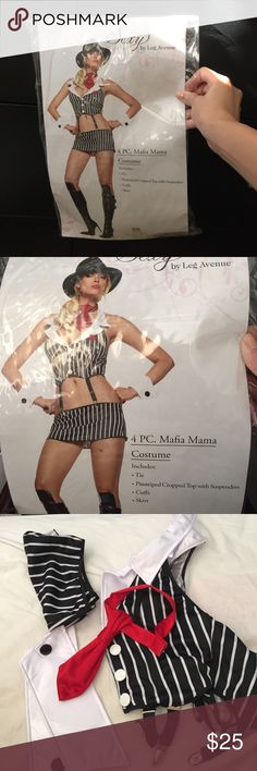 Mafia Mama Halloween Costume Brand new in bag, don't think it has ever been worn.  Size XS.  Includes tie, pinstriped top with suspenders, cuffs, and skirt. Leg Avenue Other
