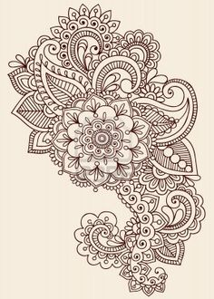 Henna Paisley Flowers Mehndi Tattoo Doodles Design- Abstract Floral Stock Photo - vintage style